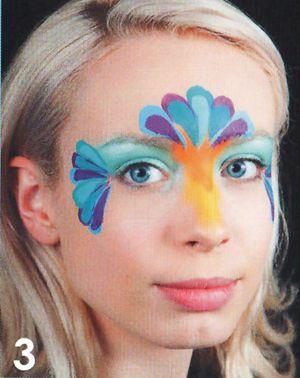 Kinderschminken Paradies Vogel schminken Schminkanleitung 3