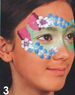 Schminkanleitung Blumen Maske schminken 3