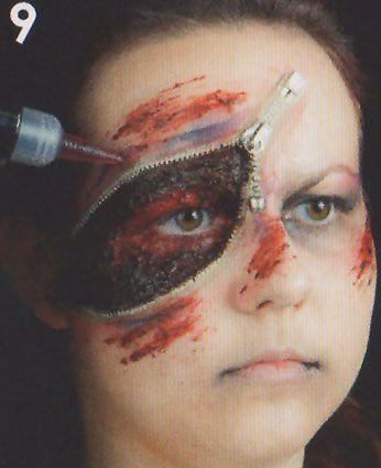 Zipper Face Wunde schminken 2